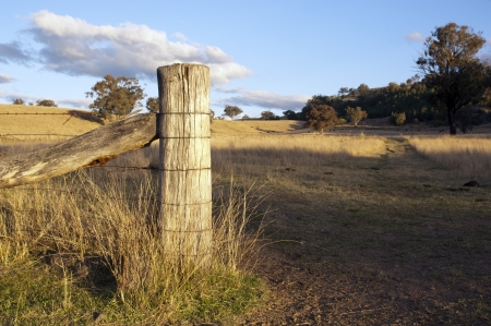 fence at gate opening with paddock behind in rural Australia