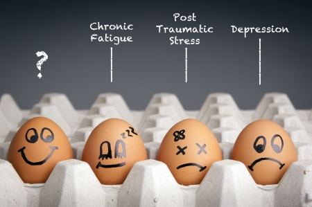 Photo for Mental health concept in playful style with egg characters - Royalty Free Image