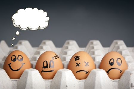 Photo pour Mental health concept in playful style with egg characters displaying different emotions and blank speech bubbles - image libre de droit