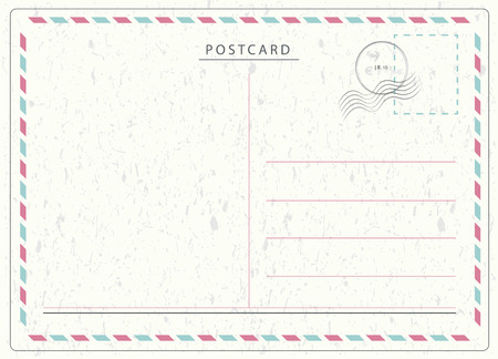 Illustration pour Travel postcard vector in air mail style with paper texture and rubber stamps - image libre de droit