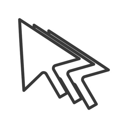 Ilustración de Computer mouse cursor icon with cursor trail in simple vector style - Imagen libre de derechos