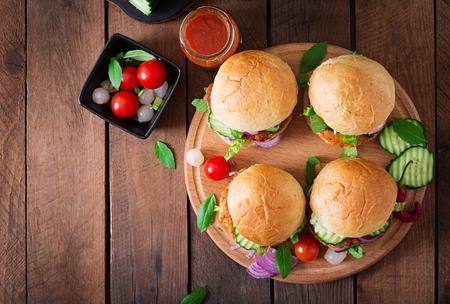 Photo for Juicy spicy chicken burgers to Asian-style - sandwich. Top view - Royalty Free Image