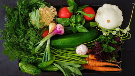Set of different fresh vegetables (carrots, zucchini, cucumber, tomato). Proper nutrition. Dietary menu. Top view