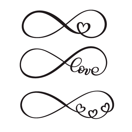 Illustration pour Set of word love original custom hand lettering, handmade calligraphy, design with elements of the flourish heart, valentine and infinity - image libre de droit