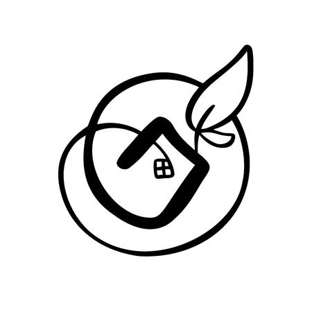 Illustration pour Eco House leaf. Simple Calligraphy nature Vector bio Icon. Estate Architecture Construction for design. - image libre de droit