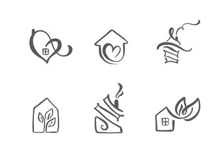 Illustration pour Set of simple calligraphy houses hand drawn logo. Real Vector Icons. Estate Architecture Construction for design. Art home vintage element - image libre de droit