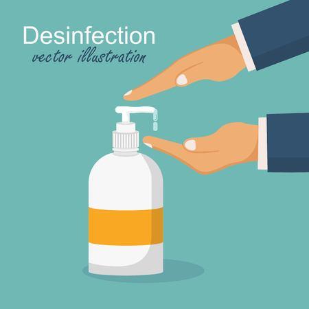Ilustración de Desinfection concept. Man washing hands. Vector illustration in flat design. Applying a moisturizing sanitizer. - Imagen libre de derechos