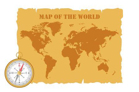 Illustration pour Vintage map of the world and magnetic compass. Vector illustration. - image libre de droit