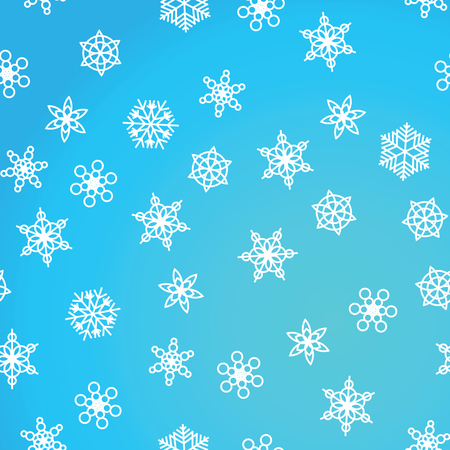 Illustration pour Winter pattern snowfall and white snowflakes on blue background. New Year and Christmas pattern with snowfall, blizzard, snowflakes, frost. Seamless background - image libre de droit
