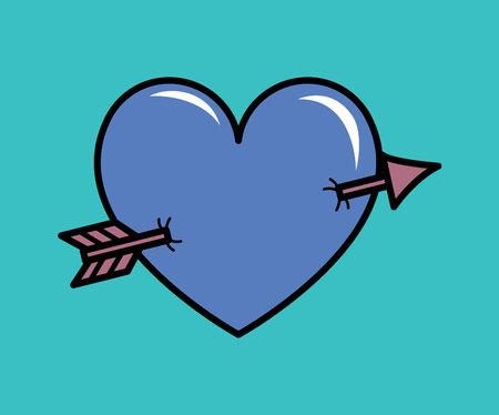 Illustration pour Heart pierced with arrow vector illustration. Eps 10 - image libre de droit