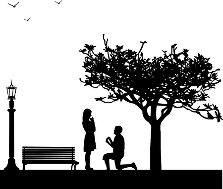 Romantic proposal in park under the tree on Valentine