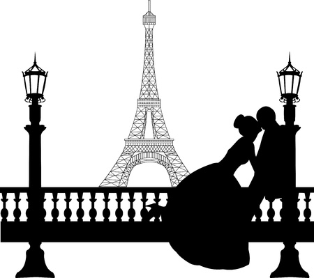 Photo for Wedding couple in front of Eiffel tower in Paris silhouette, one in the series of similar images  - Royalty Free Image