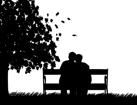 Illustration for Lovely retired elderly couple sitting on bench in park in autumn or fall, one in the series of similar images silhouette - Royalty Free Image