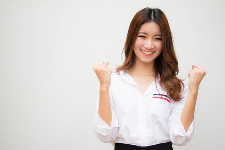 Photo for Portrait of thai adult working women white shirt OK - Royalty Free Image
