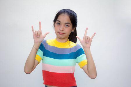 asia thai teen color t-shirt beautiful girl love you