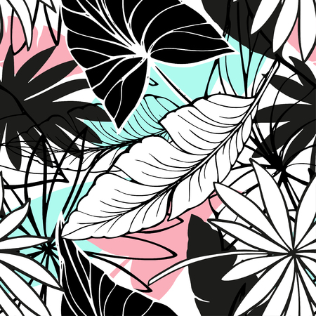 Ilustración de vector seamless beautiful artistic bright tropical pattern with banana, Syngonium and Dracaena leaf, summer beach fun, original stylish floral background print, fantastic forest - Imagen libre de derechos