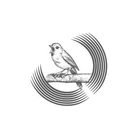 Illustration pour Sings and chirps bird, sits on circular and round branch, logo template. Animals and wildlife, vector design. Nature illustration - image libre de droit