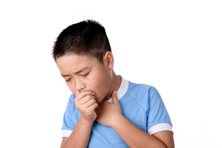 Photo pour Young asian Thai boy has cough, isolated on white background. - image libre de droit