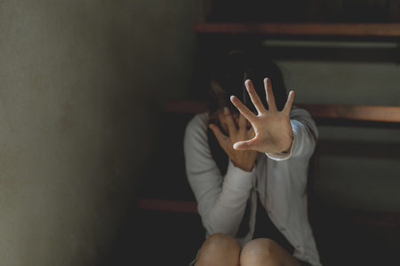 Foto de Stop Sexual abuse Concept, Stop violence against the family and stop violence against women., WomenInternational women's day. - Imagen libre de derechos