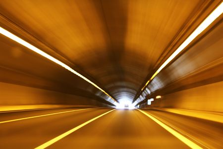 High speed tunnel. Exiting a tunnel at high speed.