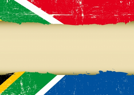 Illustration for A south africa flag with a large frame for your message - Royalty Free Image
