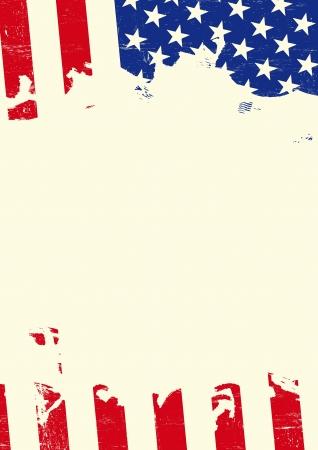 Illustration pour A poster with an american flag torn - image libre de droit