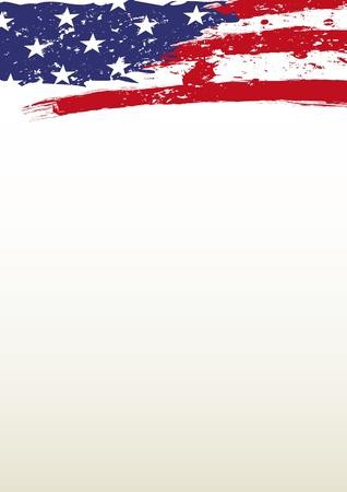 Illustration pour A header paper with the american flag - image libre de droit