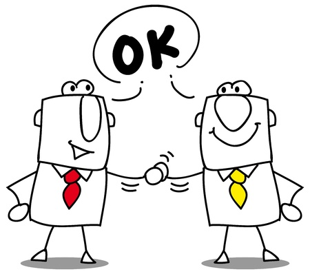 Illustration pour Two businessmen shaking hands  - image libre de droit