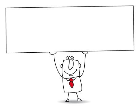 Illustration pour Joe, the businessman holds a big white placard  Write your message  - image libre de droit