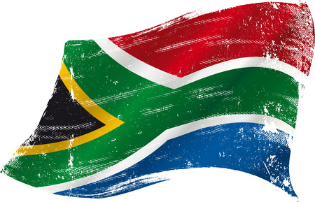 Illustration for flag of South Africa in the wind with a texture - Royalty Free Image