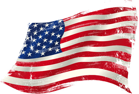 Illustration for flag of  USA  in the wind with a texture. - Royalty Free Image