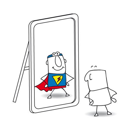 Illustrazione per Joe looks in the mirror. He sees a superhero in the reflection. It's a metaphor of the power which is in each person - Immagini Royalty Free