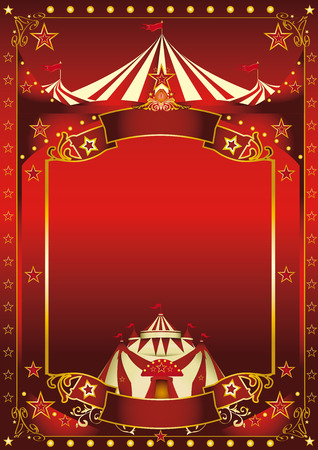 Illustration pour A red background circus with a large copy space and a big top for your message. - image libre de droit