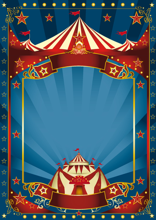 Foto de A blue background circus with a large copy space and a big top for your message. - Imagen libre de derechos