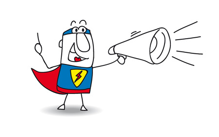 Illustration pour A super hero is speaking  in a megaphone - image libre de droit