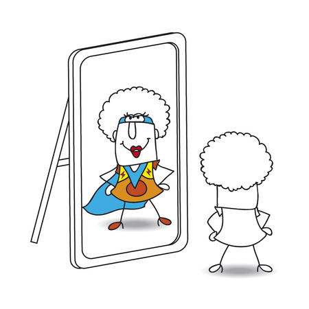 Illustration pour An afro girl looks in the mirror. She sees a supergirl in the reflection. It's a metaphor of the power which is in each person - image libre de droit