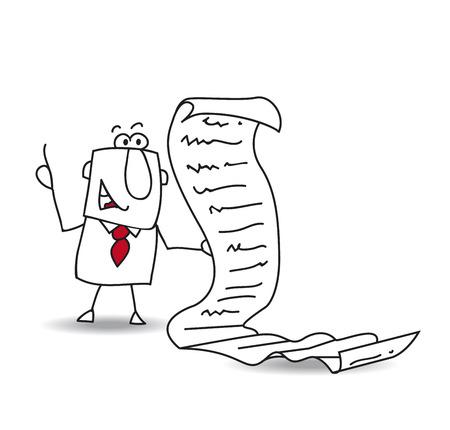 Illustration pour Joe the businessman reads a long list of things to do - image libre de droit