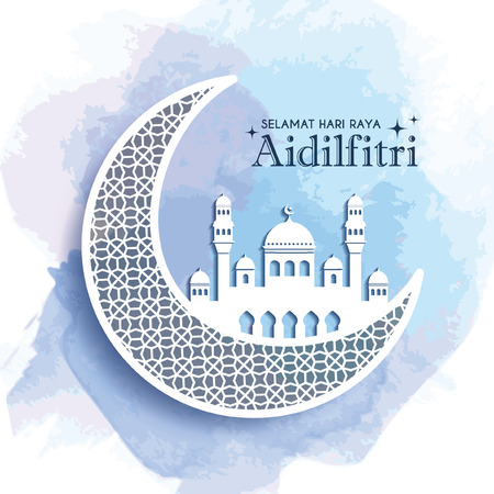 Illustration for Hari Raya Aidilfitri greeting card template design. Decorative crescent moon and mosque on blue watercolor background. Vector illustration. (translation: Fasting Day of Celebration) - Royalty Free Image