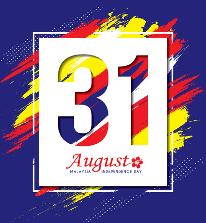 Illustration pour 31 August - Malaysia Independence Day illustration. Modern abstract art background base on Malaysia flag colours. - image libre de droit