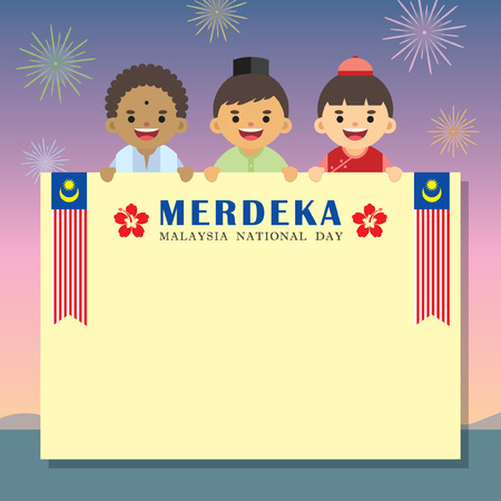 Illustration pour Malaysia National / Independence Day illustration message board. Cute cartoon character kids of Malay, Indian & Chinese with Malaysia flag on colourful fireworks background. - image libre de droit