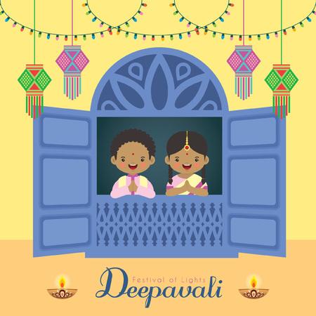 Ilustración de Diwali / Deepavali vector illustration. Cute indian boy and girl with window frame, india lanterns, diya (india oil lamp) and colorful light bulbs for Festival of Lights celebration. - Imagen libre de derechos