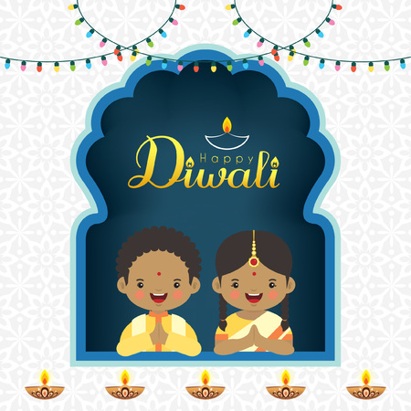 Illustration for Diwali / Deepavali vector greeting illustration. Cute indian kids with colorful light bulbs and burning diya (india oil lamp) for festival of Lights celebration. - Royalty Free Image