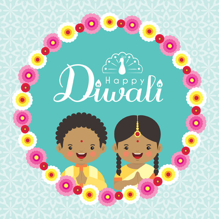 Illustration pour Diwali or Deepavali greeting cardd with cute india kids and floral wreath on blue pattern background. Festival of lights vector illustration. - image libre de droit