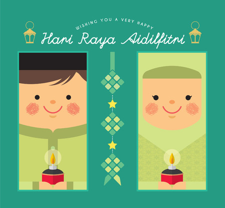 Ilustración de Cute cartoon muslim boy & girl with ketupat, pelita (oil lamp) in flat vector design. Hari Raya Aidilfitri template design for label, tag, bookmark or greeting card. (translation: Happy Fasting Day) - Imagen libre de derechos