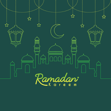 Illustration for Ramadan Kareem template or copy space. Mosque with crescent moon and lantern in gradient lien art style on green background. Ramadan Kareem means Ramadan the Generous Month. - Royalty Free Image