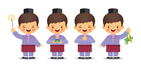 Illustration for Set of cute cartoon muslim boy in different pose isolated on white background. Flat vector design. - Royalty Free Image
