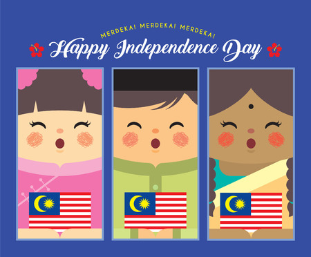 Illustration pour Malaysia Independence Day illustration. Cute cartoon kids of Malay, Indian & Chinese holding Malaysia flag in flat vector design. - image libre de droit