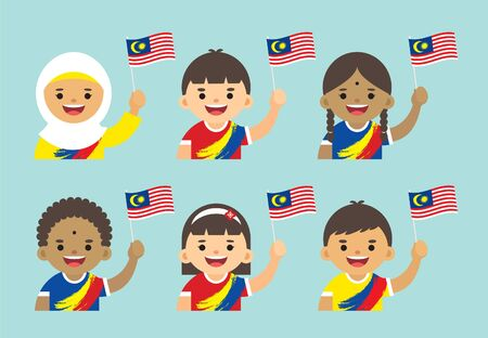Illustrazione per Malaysia Independence Day illustration. Cute cartoon kids of Malay, Indian & Chinese holding Malaysia flag in flat vector design. - Immagini Royalty Free