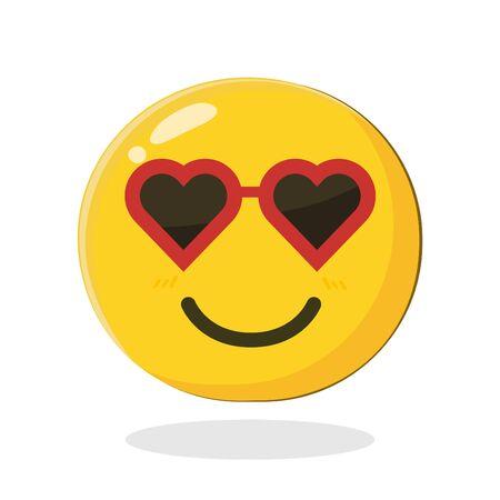 Ilustración de Cute smiling emoticon wearing heart sunglasses. Cartoon Isolated vector illustration on white background - Imagen libre de derechos