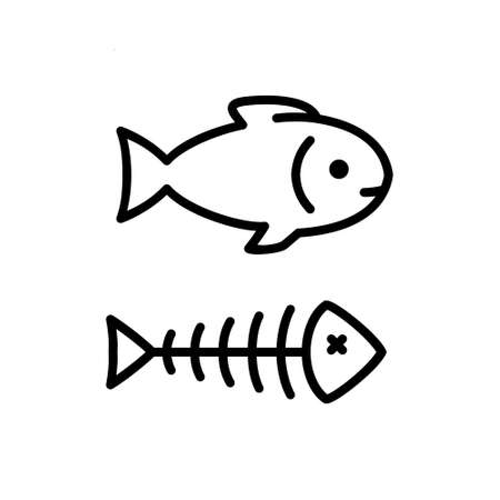 fish bone vector icon. Fish outline on white background
